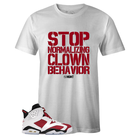 White Crew Neck CLOWN BEHAVIOR T-shirt to Match Air Jordan Retro 6 Carmine