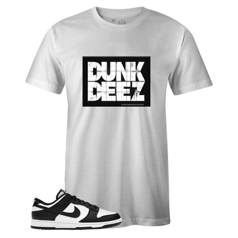 Men's White Crew Neck DUNK DEEZ T-shirt to Match Nike SB Dunk Low Black White