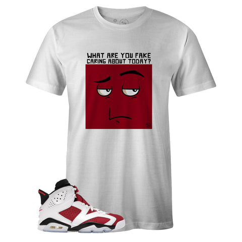 White Crew Neck FAKE CARING T-shirt to Match Air Jordan Retro 6 Carmine
