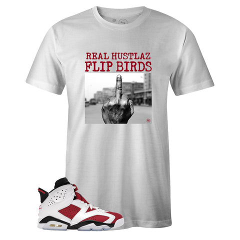 White Crew Neck FLIP BIRDS T-shirt to Match Air Jordan Retro 6 Carmine