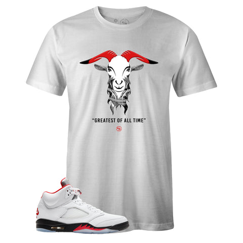 Men's White Crew Neck GOAT T-shirt to Match Air Jordan Retro 5 Fire Red