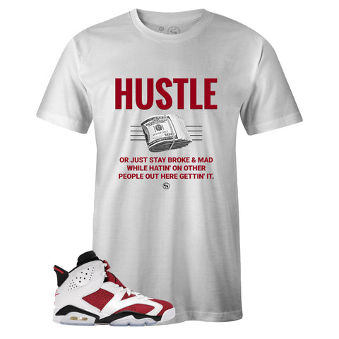 White Crew Neck HUSTLE T-shirt to Match Air Jordan Retro 6 Carmine