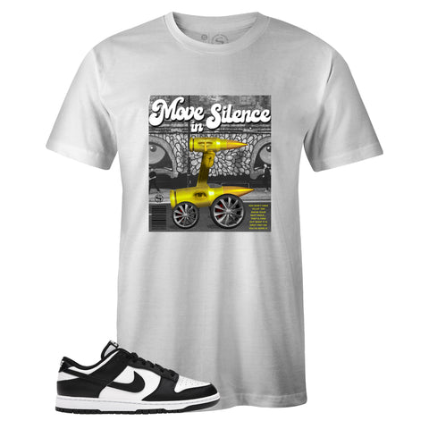 Men's White Crew Neck MOVE IN SILENCE T-shirt to Match Nike SB Dunk Low Black White