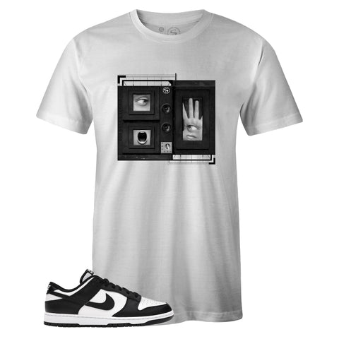 Men's White Crew Neck NEO T-shirt to Match Nike SB Dunk Low Black White