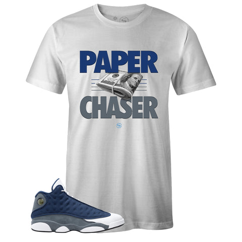 Men's White Crew Neck PAPER CHASER T-shirt to Match Air Jordan Retro 13 Flint