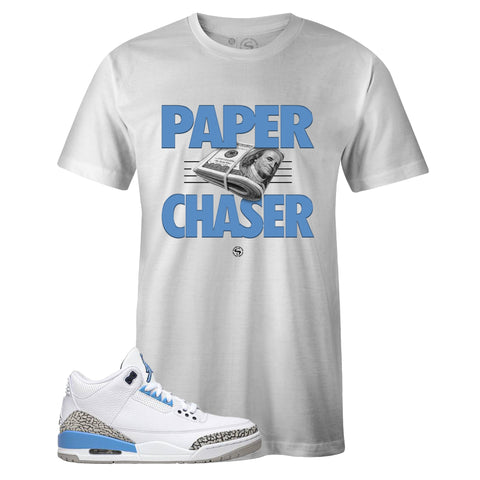 Men's White Crew Neck PAPER CHASER T-shirt To Match Air Jordan Retro 3 UNC