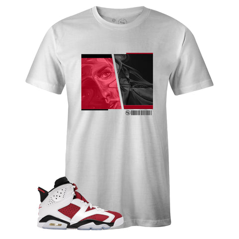 White Crew Neck PASSION T-shirt to Match Air Jordan Retro 6 Carmine