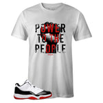 Men's White Crew Neck POWER T-shirt to Match Air Jordan Retro 11 Concord Bred