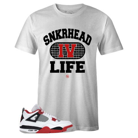 Men's White Crew Neck SNKRHEAD IV LIFE T-shirt to Match Air Jordan Retro 4 Fire Red