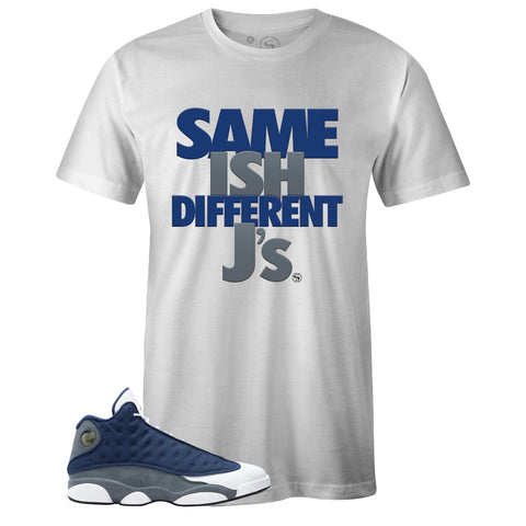 Men's White Crew Neck SAME ISH DIFFERENT J's T-shirt to Match Air Jordan Retro 13 Flint