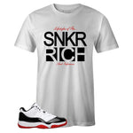Men's White Crew Neck SNKR RICH T-shirt to Match Air Jordan Retro 11 Concord Bred