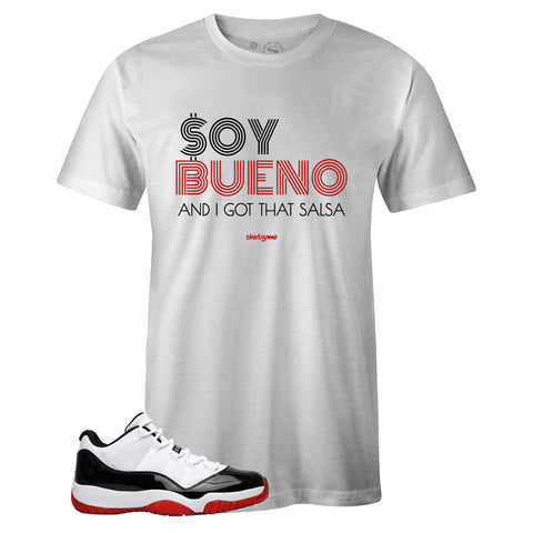 Men's White Crew Neck SOY BUENO T-shirt to Match Air Jordan Retro 11 Concord Bred