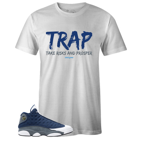 Men's White Crew Neck TRAP T-shirt to Match Air Jordan Retro 13 Flint