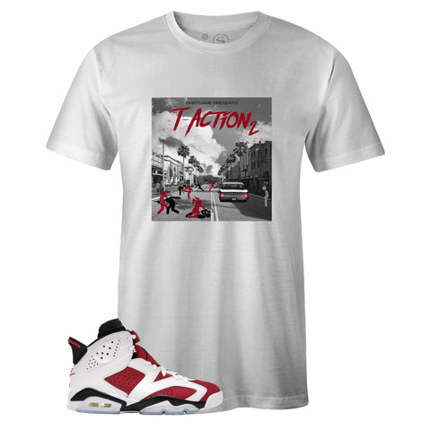 White Crew Neck T-ACTION 2 T-shirt to Match Air Jordan Retro 6 Carmine