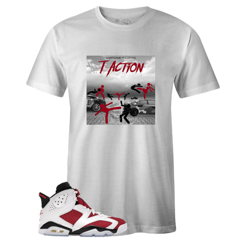 White Crew Neck T-ACTION T-shirt to Match Air Jordan Retro 6 Carmine