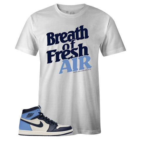 Men's White Crew Neck FRESH AIR T-shirt To Match Air Jordan Retro 1 OG Obsidian UNC