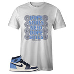 Men's White Crew Neck DOPE SOLES T-shirt To Match Air Jordan Retro 1 OG Obsidian UNC