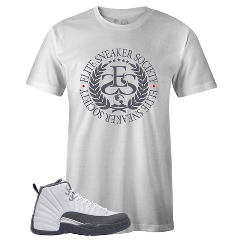 Men's White Crew Neck ELITE SNEAKER SOCIETY T-shirt To Match Air Jordan Retro 12 White Dark Grey