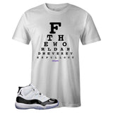 Men's White Crew Neck EYE CHART T-shirt to Match Air Jordan Retro 11 CONCORD