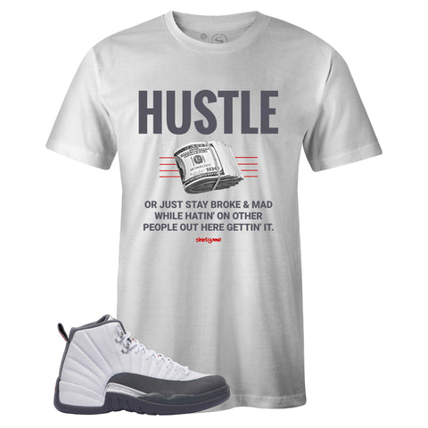 Men's White Crew Neck HUSTLE T-shirt To Match Air Jordan Retro 12 White Dark Grey