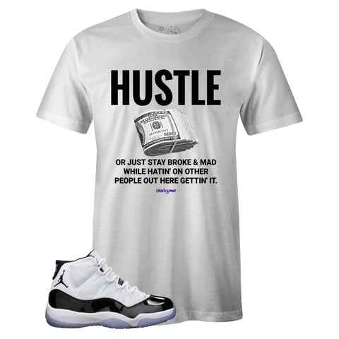 Men's White Crew Neck HUSTLE T-shirt to Match Air Jordan Retro 11 CONCORD