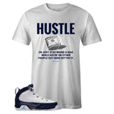 Men's White Crew Neck HUSTLE Sneaker T-shirt To Match Air Jordan Retro 9 UNC Pearl Blue