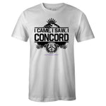 Men's White Crew Neck I CAME I SAW T-shirt to Match Air Jordan Retro 11 CONCORD