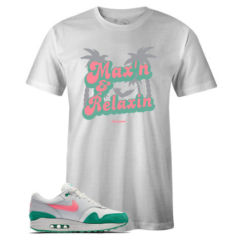 Men's White Crew Neck MAXIN RELAXIN T-shirt To Match Nike Air Max 1 Watermelon