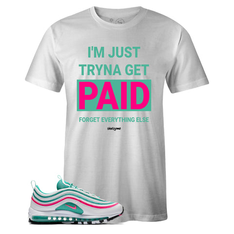 Men's White Crew Neck PAID Sneaker T-shirt To Match Nike Air Max 97 South Beach