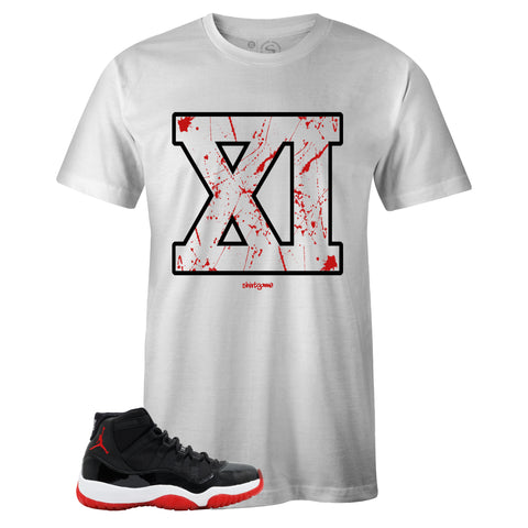 Men's White Crew Neck XI T-shirt to Match Air Jordan Retro 11 Bred