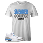 Men's White Crew Neck SNEAKER COLLEGE ALUMNI T-shirt To Match Air Jordan Retro 3 UNC
