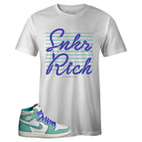 Men's White Crew Neck SNKR RICH SR19 Edition T-shirt To Match Air Jordan Retro 1 OG Turbo Green
