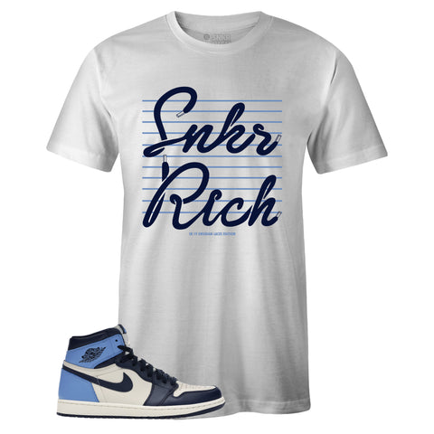 Men's White Crew Neck SNKR RICH SR19 T-shirt To Match Air Jordan Retro 1 OG Obsidian UNC