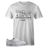 Men's White Crew Neck TRAP T-shirt To Match Air Max 1 Sketch To Shelf White