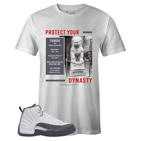 Men's White Crew Neck TIANGOU T-shirt To Match Air Jordan Retro 12 White Dark Grey