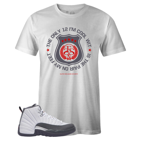 Men's White Crew Neck TWELVE T-shirt To Match Air Jordan Retro 12 White Dark Grey