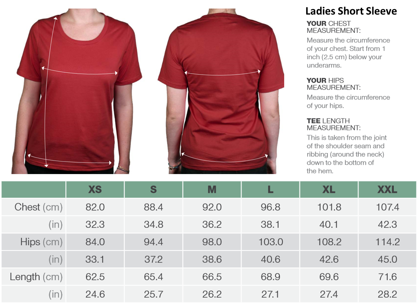 Ladies Short Sleeve Organic Cotton Tees Size Chart