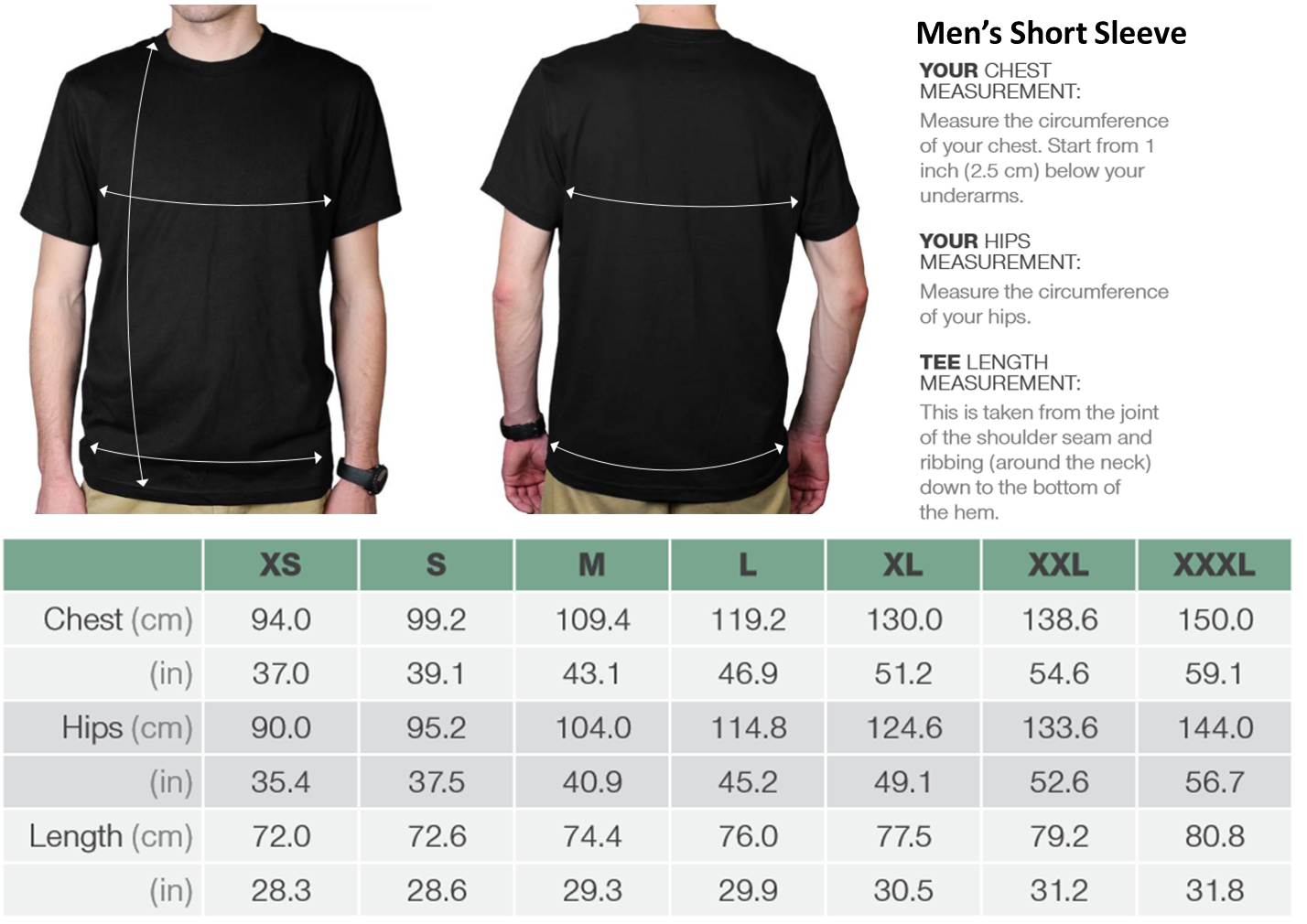 Men's Short Sleeve Organic Cotton Tees Size Chart