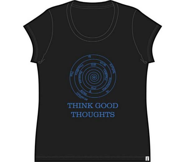Good Thoughts Ladies Cap Sleeve Tee Black
