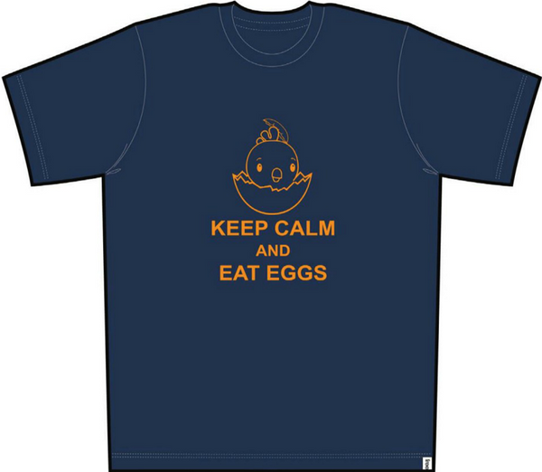 Keep Calm Eat Eggs Men Short Sleeve Tee Navy Blue