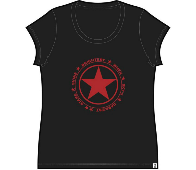 Stars Shine Ladies Cap Sleeve Tee Black