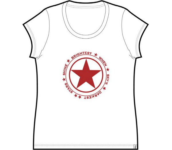 Stars Shine Ladies Cap Sleeve Tee White
