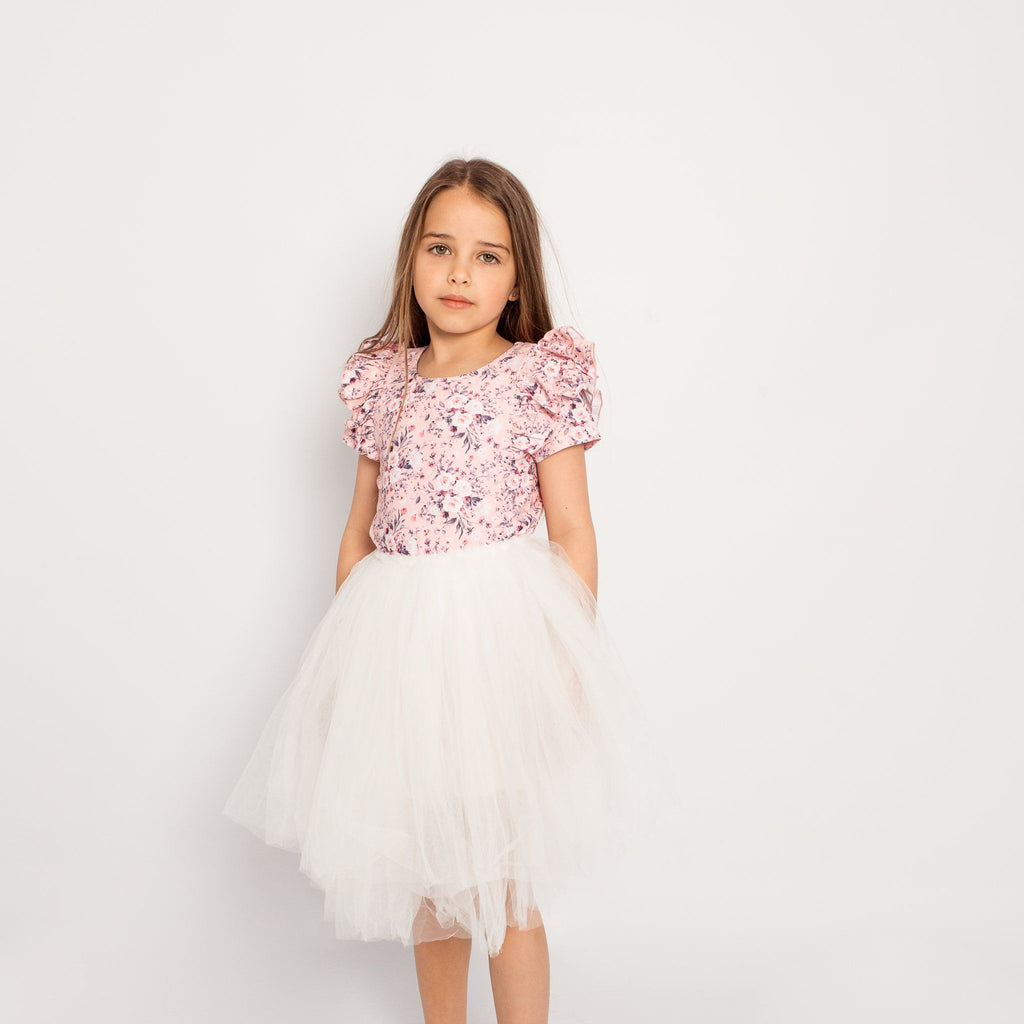 BLOSSOM SHORT SLEEVE DOUBLE FRILL LEOTARD