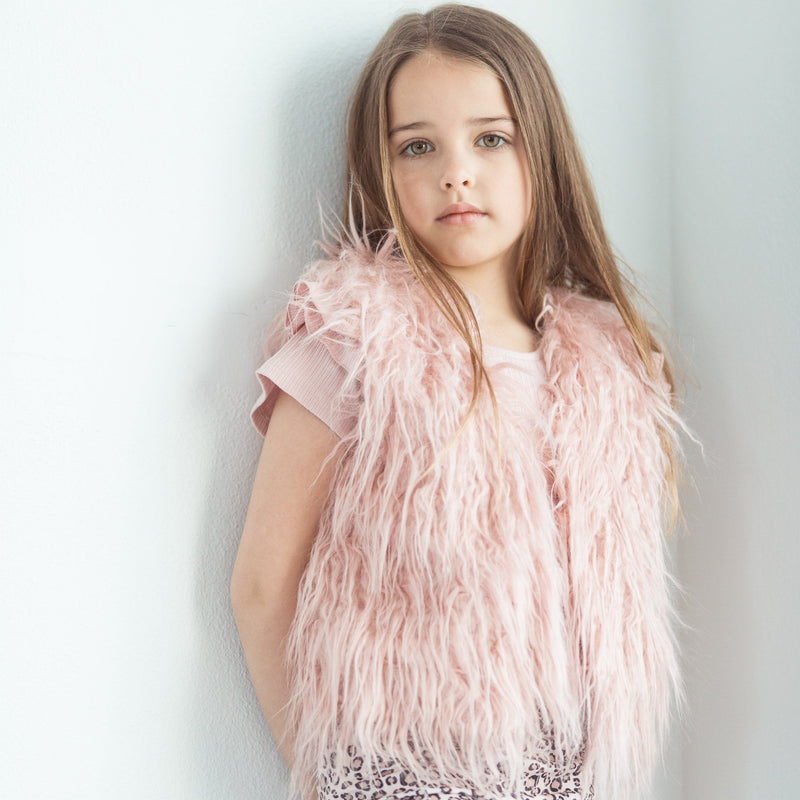 BLUSH FAUX FUR SHAGGY VEST