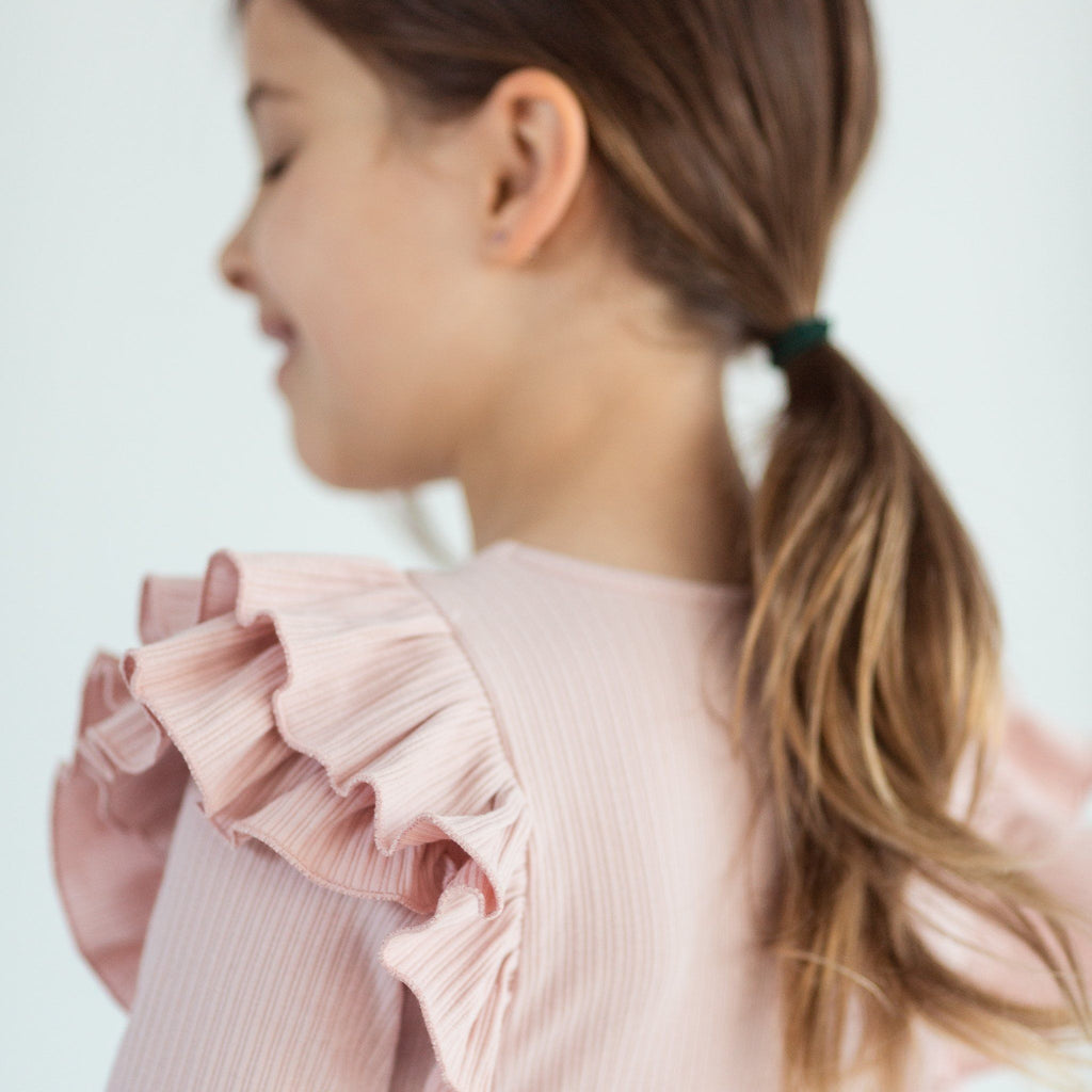 BLUSH LONGSLEEVE DOUBLE FRILL LEOTARD | NOW IN SIZES 9 + 10
