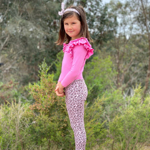 BRIGHT PINK RIB LONGSLEEVE DOUBLE FRILL LEOTARD