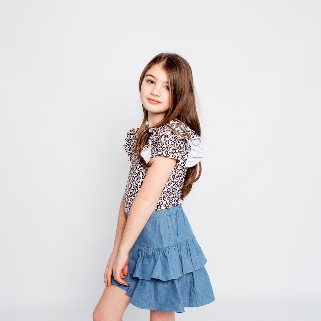 CHAMBRAY FRILL SKIRT