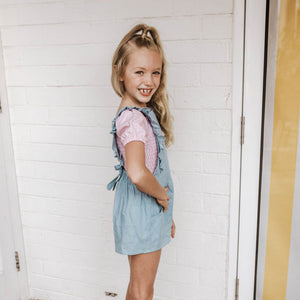 CHAMBRAY FRILLY PLAYSUIT