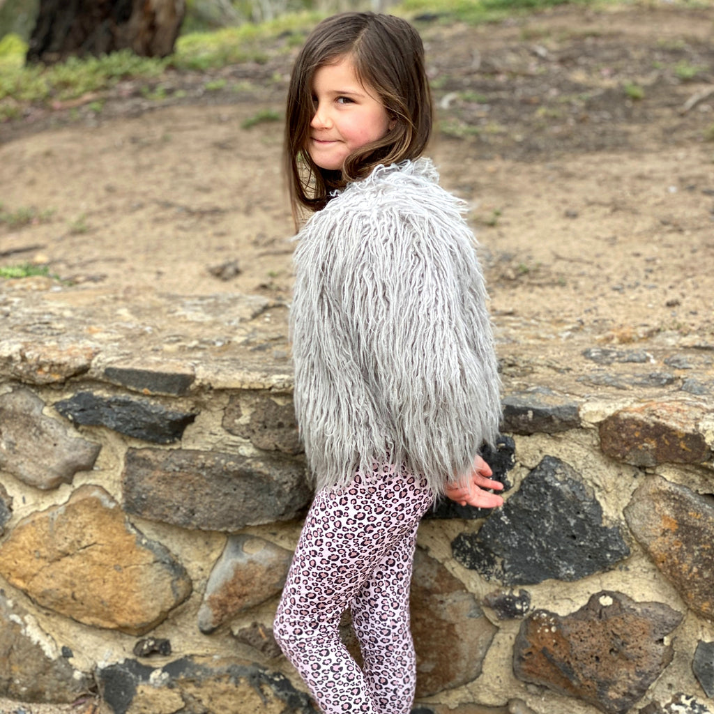FAUX FUR SHAGGY JACKET | GREY