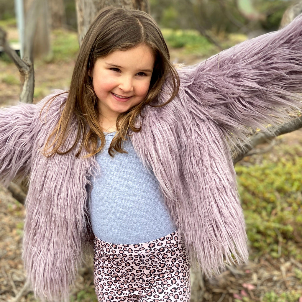 FAUX FUR SHAGGY JACKET LILAC